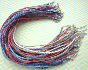 30pcs 3mm 16-18 inch adjustable assorted color(15 colors) faux braided leather necklace cord with lobster clasps and 2 inch extender