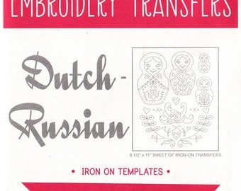 Sublime Stitching Embroidery Patterns | Modern Hand Embroidery Pattern, Iron On Transfer, Reusable - Dutch Russian