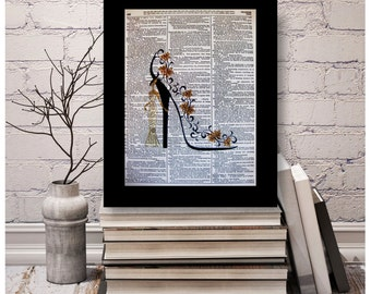 "Shoe Art ""Golden Dreams"" Mixed Media Print,Size 8x10, A4 Vintage Dictionary Page Art, Dictionary art, High Heel, Shoe Art, Stiletto Art"