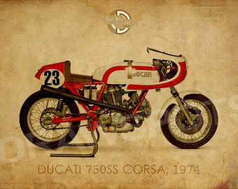DUCATI 750SS CORSA 1974, Art Print 14x10 in and more. trending home decor, trend art print