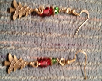 Christmas earrings. Red and green with Christmas tree charm.
