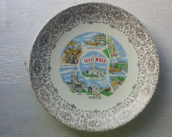 Pretty ILLINOIS Decorative SOUVENIR PLATE