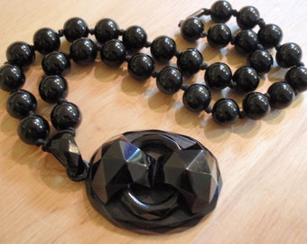 """WHITBY JET  Antique English VICTORIAN Carved Geometric Pendant Bead Necklace / Choker 17"""""""