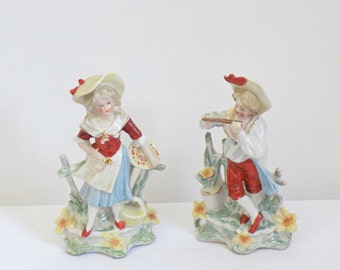 Charming Antique Victorian Pair of German Spill Vasees - Hand Painted Porcelain  Boy Girl Set - Petite Small Vase - Countryside Cottage Chic
