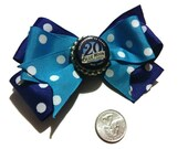 Blue Moon Hair Bows, Blue Moon brew, beer bows, bottle cap bows, gift ideas, bows for her, Summer Bows, Party Bows, Polka dot bows, Blue bow