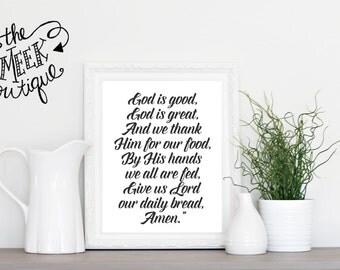 INSTANT DOWNLOAD, God is Good, God is Great, Prayer, Kitchen Printable, No. 596