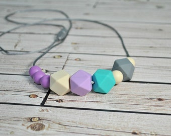 Silicone Teething Necklace - Nursing Teething Necklace - Chew Jewlery - Geometric Necklace for Mom - Purple, Mint, Grey