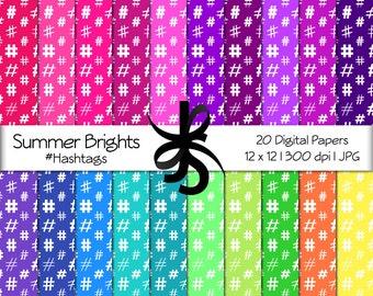 Digital Scrapbook Papers-Summer Brights Hashtags-Social Media-Hashtag Patterns-Backgrounds-Wallpaper-Printable-Instant Download Clip Art