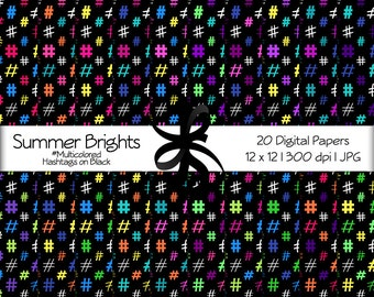 Digital Scrapbook Papers-Summer Brights Multicolored Hashtags-Black Background-Social Media Graphics-Printable-Instant Download Clip Art