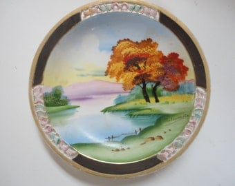 Vintage Hand Painted Scenic River Scene by M. Matsumoto Chugai China Made in Japan Scenic Wall Plate Gold Gilded Edges Dusk Scenic Scene