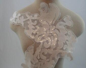 Sequin Flower Applique, White Applique, Sequin Applique, Bridal Applique G30-452