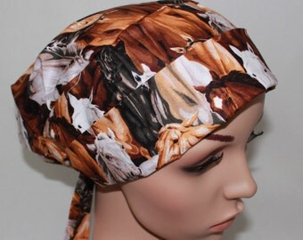 Horses,Scrub Hat,Tie back Pleated Scrub Hat with band, Surgical Scrub Hat,Vet,Vet Tech