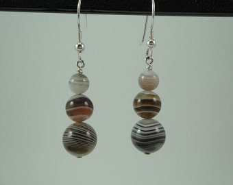 Natural Botswana Agate Drop Earrings Item #357