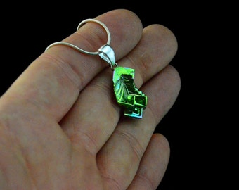 Bismuth Necklace, Bismuth Crystal Jewelry, Sterling Silver Bail, Pendant on Leather or Snake Chain