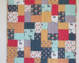 Modern Patchwork Baby Toddler Boy Crib Quilt Blanket Woodland Owls Foxes Deer Mustard red navy