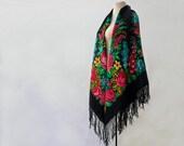 Reserved - shawl with roses and ferns, piano shawl, botanical shawl, large shawl, wool floral shawl, fringed shawl, gypsy shawl garden party