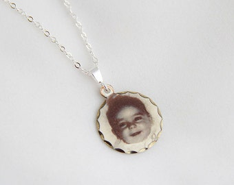 Sterling Silver Round Photo Charm ... Small