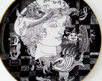 Retro porcelain wall plate black-white-gold