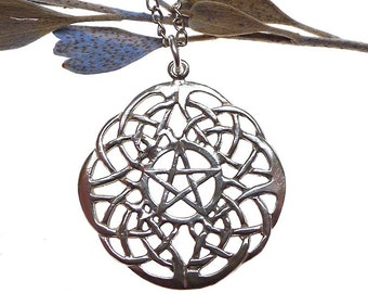 Celtic Lace Pentacle Pendant in Sterling Silver, .925 Silver Celtic Jewelry, Pentagram Jewelry, Celtic Jewelry, Celtic Knot, Pagan Heathen