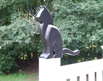 Black Cat Sculpture Deck/Fence Post Sculpture Banksville79 Exclusive