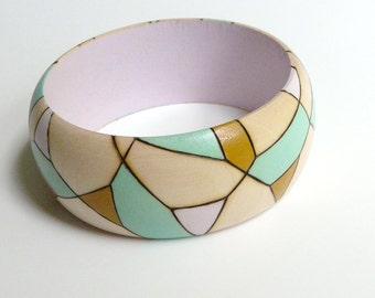 Mint, mustard and lilac pyrography geometric bangle - PRISMATIC wooden bracelet