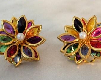 Vintage Unfoiled Multi Bright Navette Flower Earrings  With Pearl Center  post earrings
