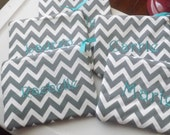 Chevron cosmetic bags,Gifts for Bridesmaids,Grads,or birthdays.Beautiful grey with aqua monogram.