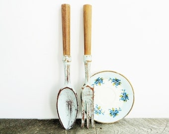 Giant Fork and Spoon - 12 Inches - Robins Egg Blue - Unique Kitchen Decor