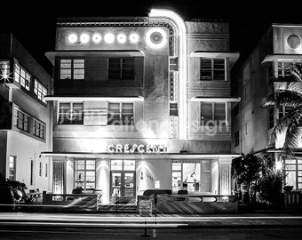 Miami Black and White, Crescent Hotel, Art Deco, Neon in South Beach Miami Art, Black and White, Miami Photo, Fine Art Photo Print