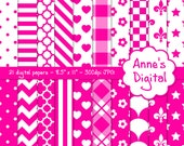 "Bright Pink and White Digital Papers - Matching Solid Included - 21 Papers - 8.5"" x 11"" - Instant Download - Commercial Use (065)"
