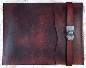 Leather Sketchbook, Refillable Sketchbook, Large, sketchbook cover - Metal Clasp, Journal, Drawing Book, Leather Bound, Notebook, Guest Book