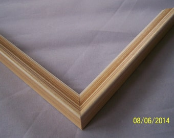 1 ~ 11x14 Picture Frame ~ Ready to Ship ~ Light Beige/Brown with White inner Lip ~ 9/16 inch wide and 3/4 inch tall with a 1/4 inch rabbet