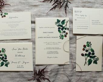 Blackberry Wedding Invitation Set   Woodland Wedding Invitation Digital   Vintage Wedding Invitations Handmade   Berry Wedding Decor