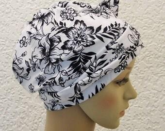 Chemo head wear, chemo bonnet, tichel, elegant chemotherapy patient head covering, short hair head scarf, apron style headscarf