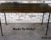 Desk, Computer desk, reclaimed wood, Small desk, Writing desk, Table, Steel legs, Made to order