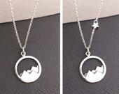 Mountain Necklace, 925 Mountain Range Necklace, Nature necklace, Mountain Top Necklace, Nature Jewelry, Hiker, Mountain lover