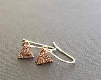 Tiny Dangling Earrings, Sparkling Two tone earrings, minimal jewelry, Rosegold earring, tiny earrings, Triangle charm earrings, Dainty