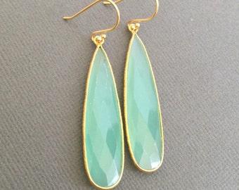 Long Earring, Aqua Blue chalcedony earrings, gemstone earring, dangle earring, Gift for her, Bridesmaid earring