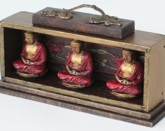 Up-cycled Assemblage Primitive Shrine, Three Buddhas
