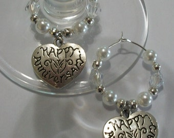 Set of 2 Pretty Glass Pearl and Antique Silver Heart Happy Anniversary Wine Charms, Choice of Color