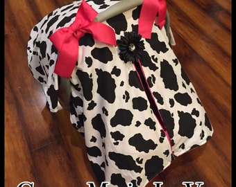 Cow print and hot pink minky Cowgirl car seat canopy set you choose items :)