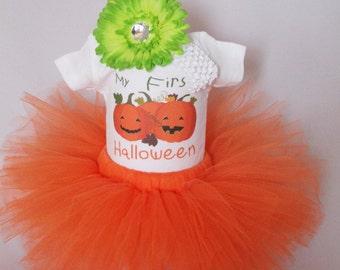 My First Halloween Outfit - Babys 1st Halloween Set - Baby Girls Halloween Tutu Halloween Bodysuit - Halloween Pumpkin Outfit - *HW1524