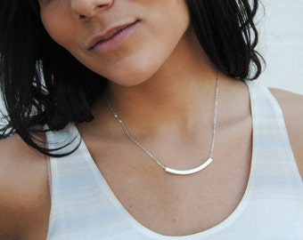 silver plated noodle necklace