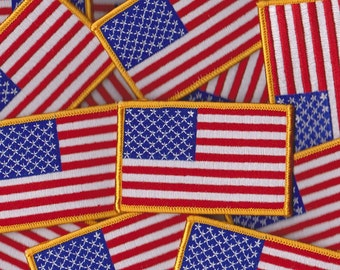 Iron-On American Flag Patch Embroidered Patch Gold Border with Velcro Option