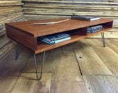 QUICK SHIP-Boxer mid century modern coffee table with storage, featuring sapele mahogany with hairpin legs.