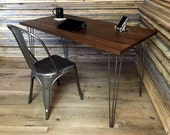 QUICK SHIP-Salisbury mid century modern desk featuring black walnut top and hairpin legs.