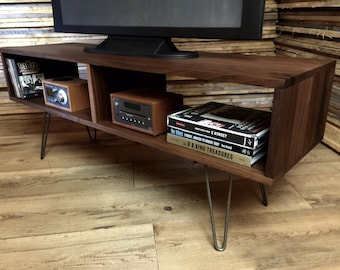 Mid century modern TV table/entertainment console, black walnut with hairpin legs.