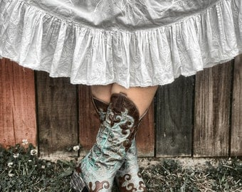 Cowgirl Cowboy Boots Western Farm Country Skirt Americana Equestrian Color Art Photo Print