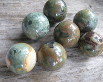 25mm Rainforest Jasper Sphere, 1 (One) Gemstone Sphere, 1 inch Rhyolite Gemstone, Crystal Ball, Metaphysical Supply Heart Root Chakra, Reiki