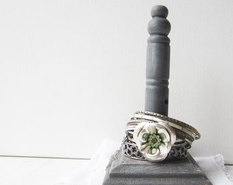 LAST ONE!  Small Gray Cuff Bracelet Holder - 100% Recycled Wood - Retail Jewelry Display - Quantities Available - READY to Ship